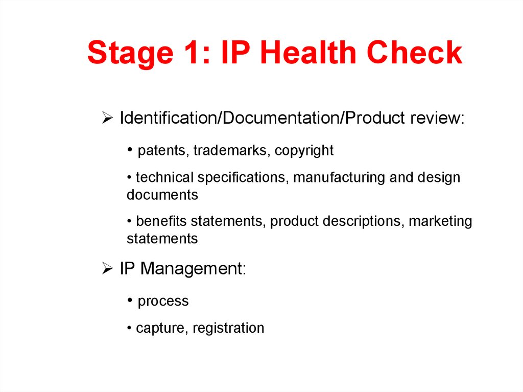Stage 1: IP Health Check