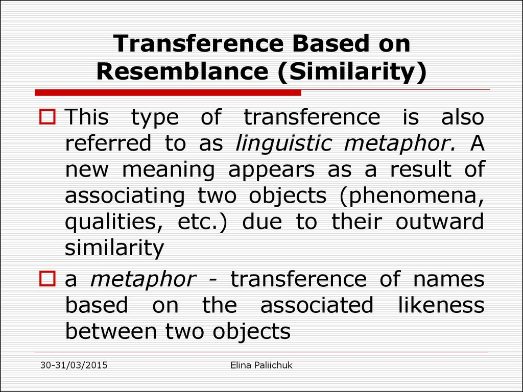 Transference Based on Resemblance (Similarity)