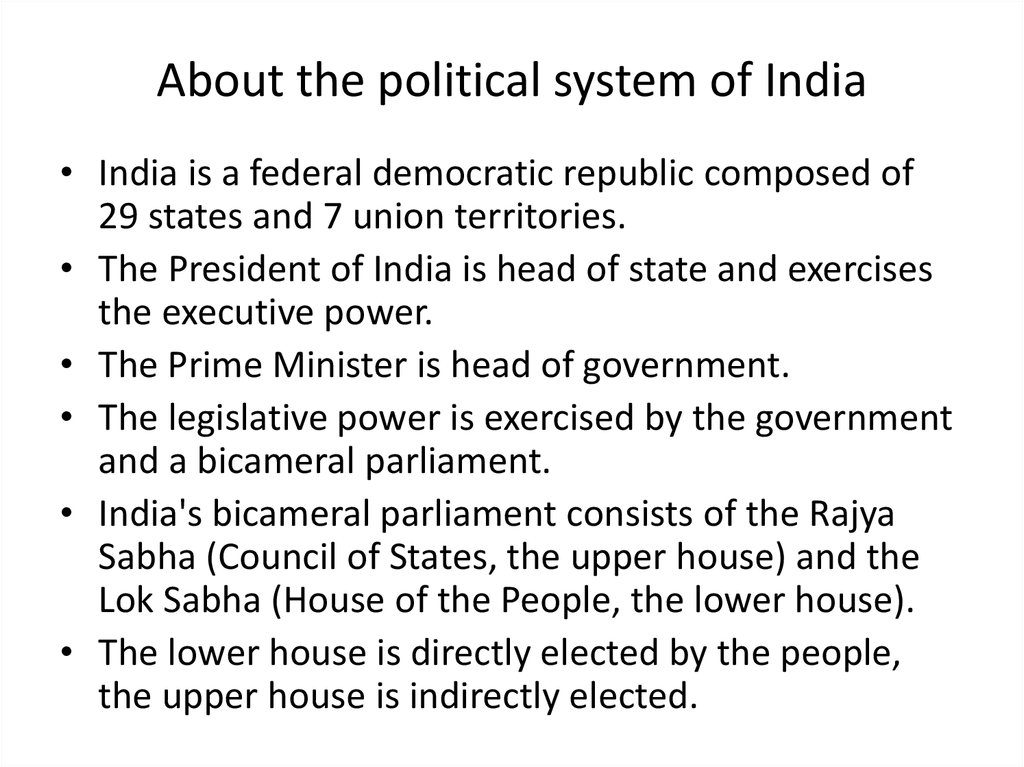 About the political system of India