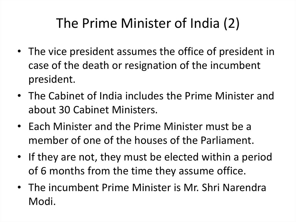 The Prime Minister of India (2)