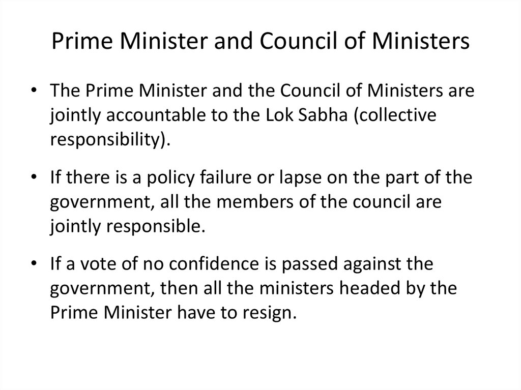 Prime Minister and Council of Ministers
