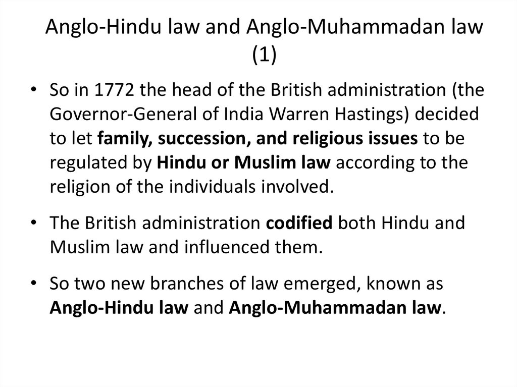 Anglo-Hindu law and Anglo-Muhammadan law (1)