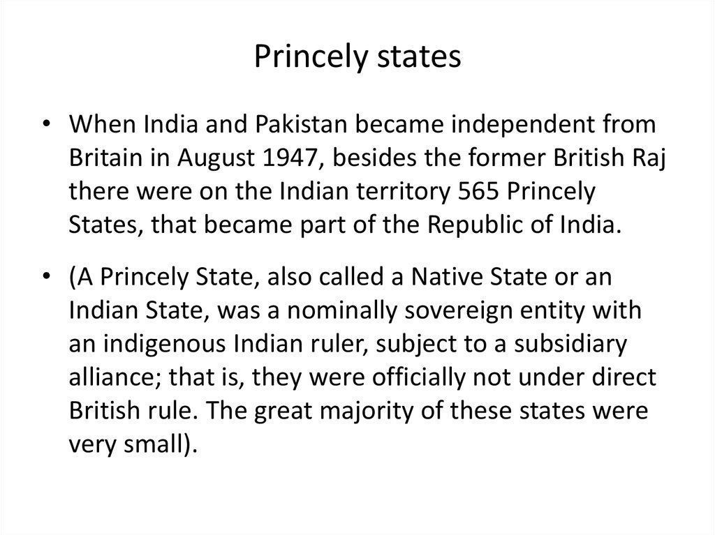 Princely states