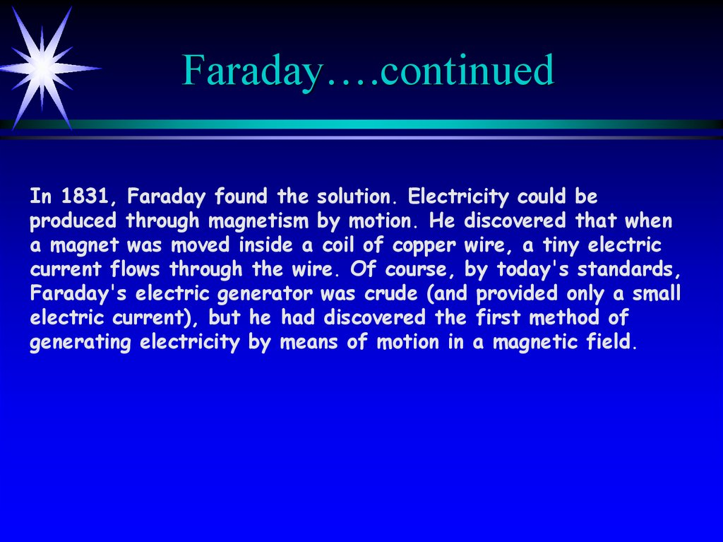 Electricity and Magnetism - online presentation