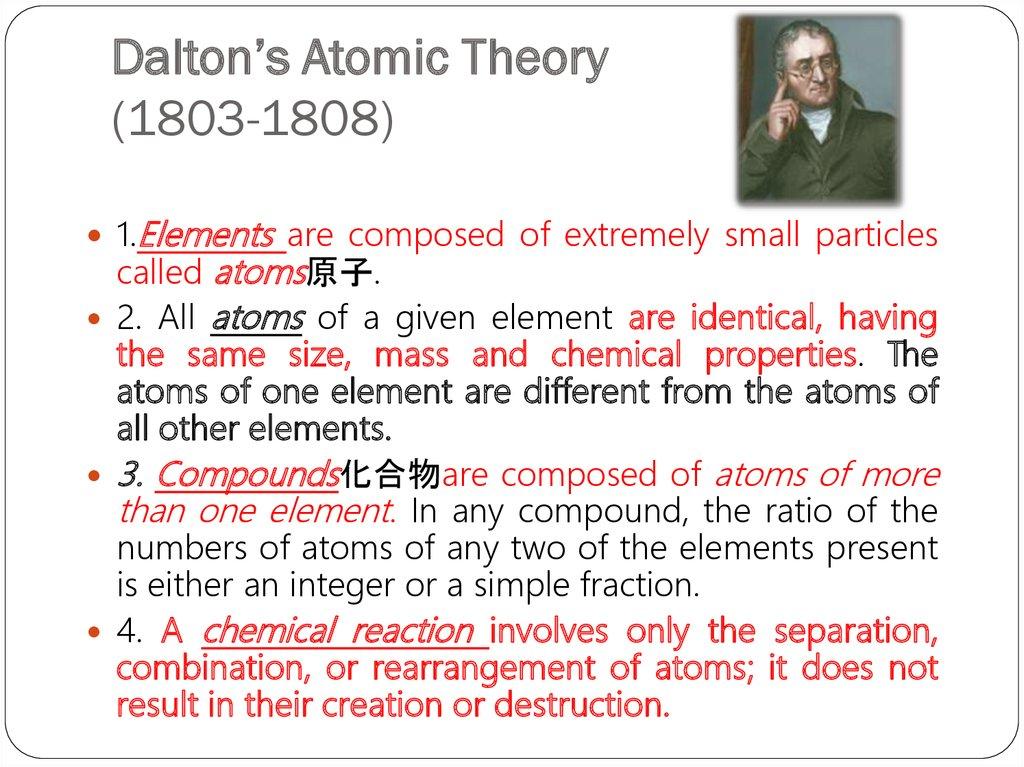 summary of dalton atomic theory