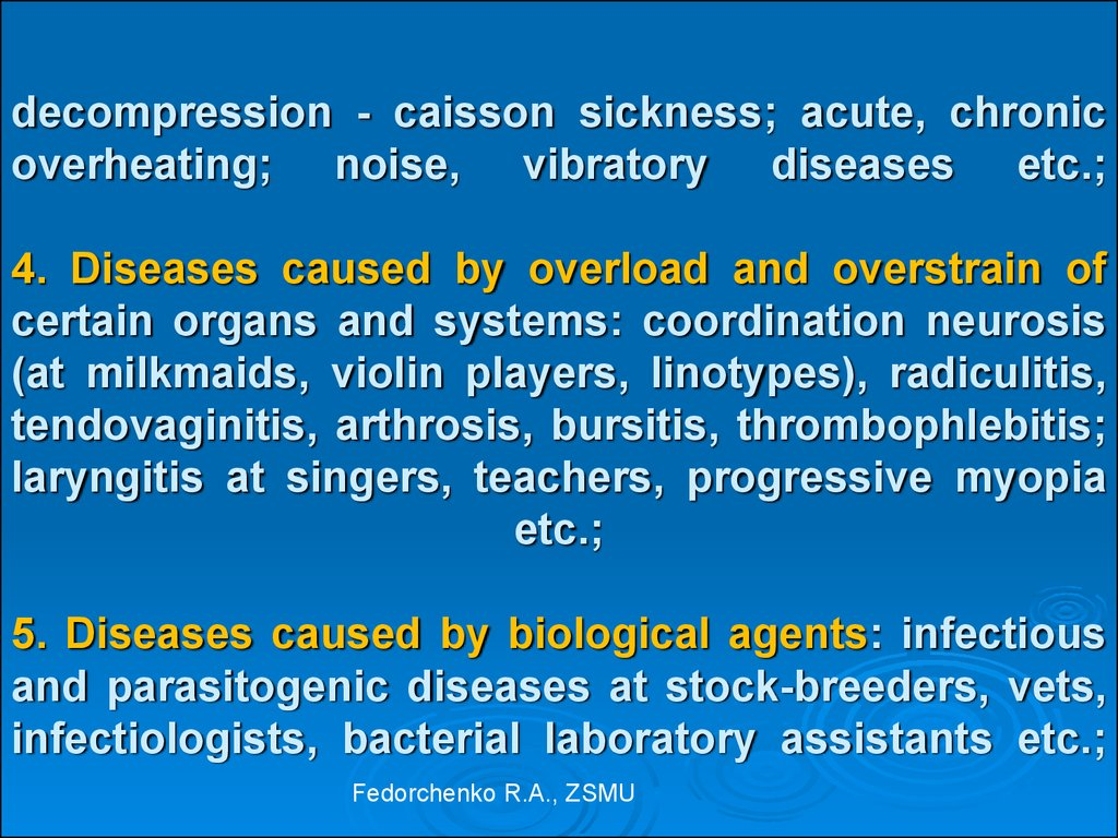 decompression - caisson sickness; acute, chronic overheating; noise, vibratory diseases etc.; 4. Diseases caused by overload and overstrain of certain organs and systems: coordination neurosis (at milkmaids, violin players, linotypes), radiculitis, tendov