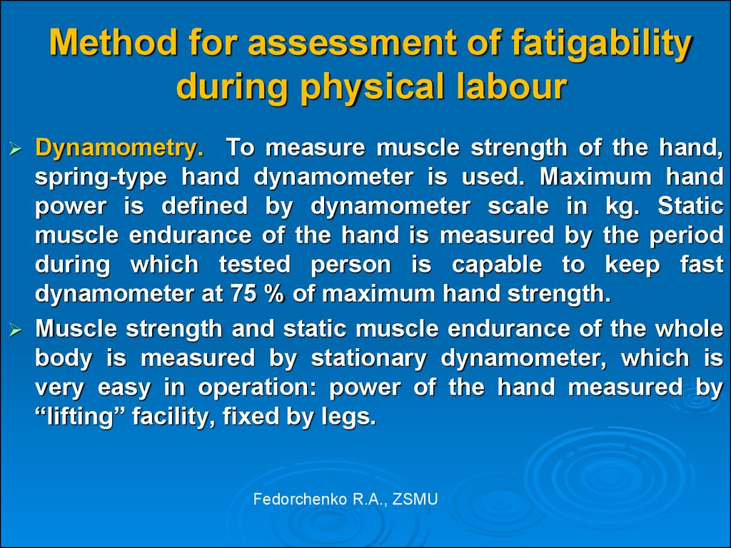 Method for assessment of fatigability during physical labour
