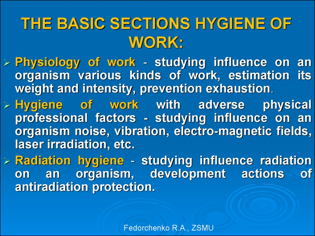 THE BASIC SECTIONS HYGIENE OF WORK: