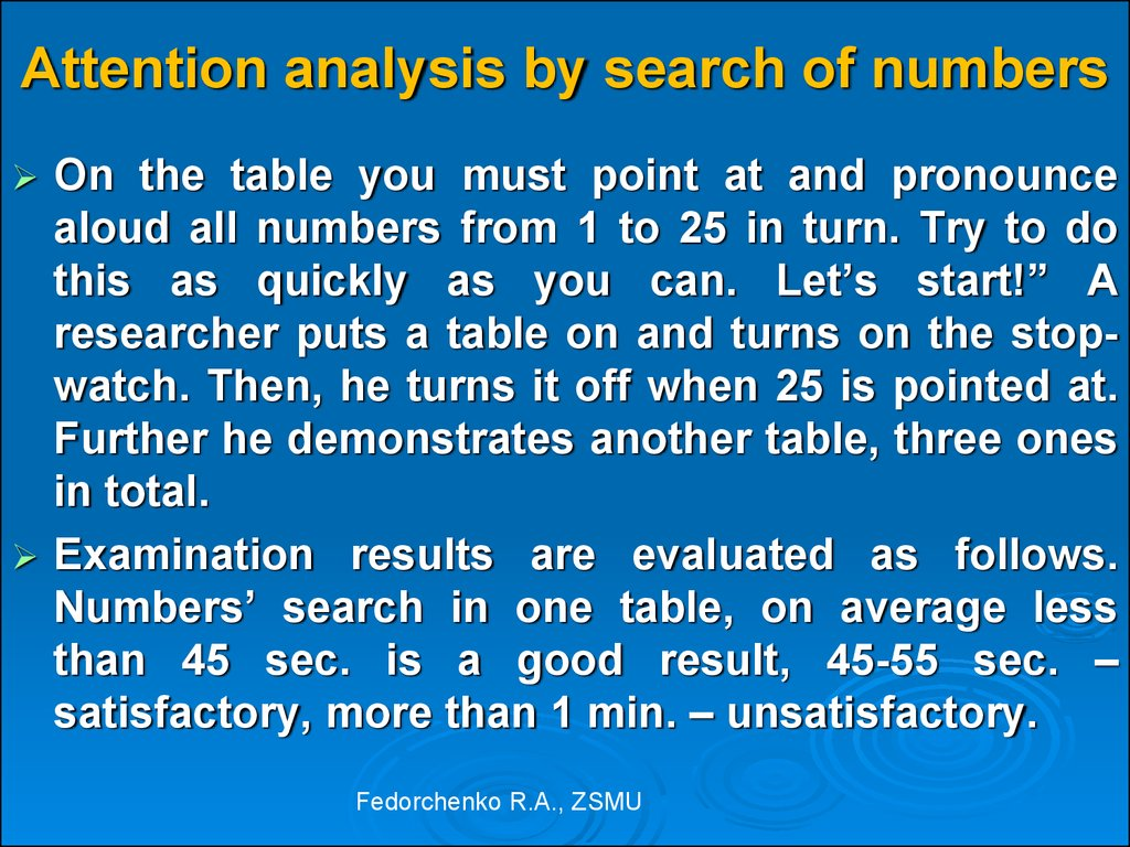 Attention analysis by search of numbers