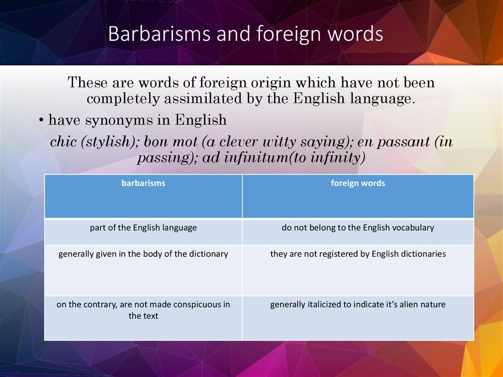 Barbarisms and foreign words