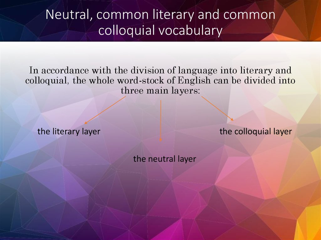 Neutral, common literary and common colloquial vocabulary