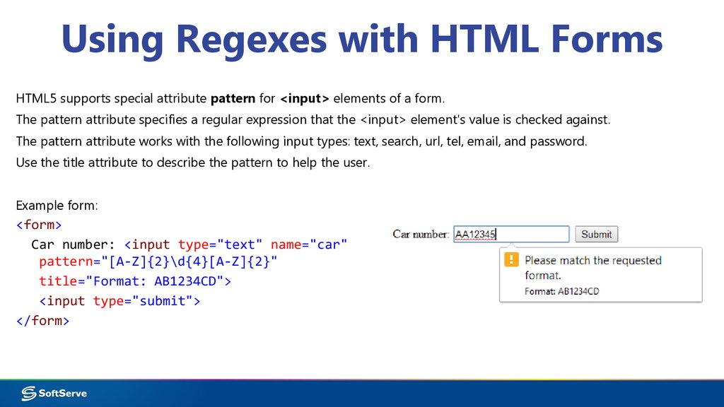 Using Regexes with HTML Forms