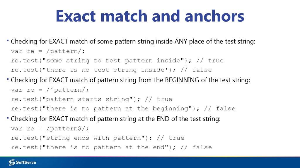Exact match and anchors