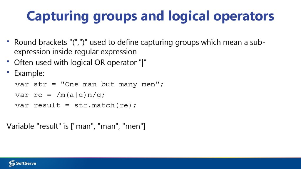 Capturing groups and logical operators