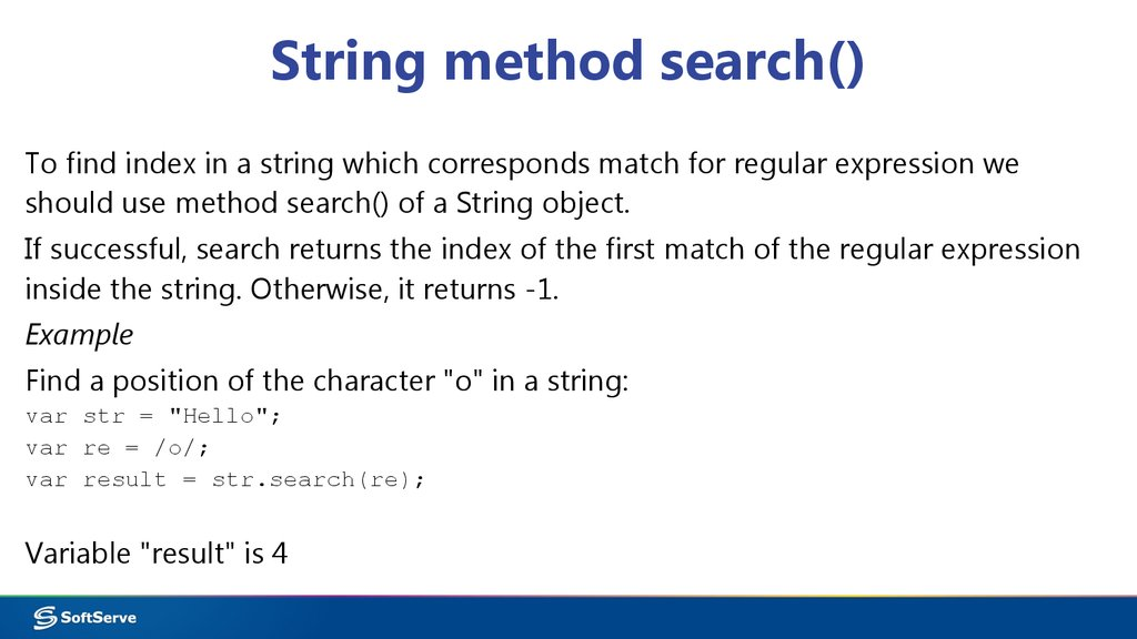 String method search()