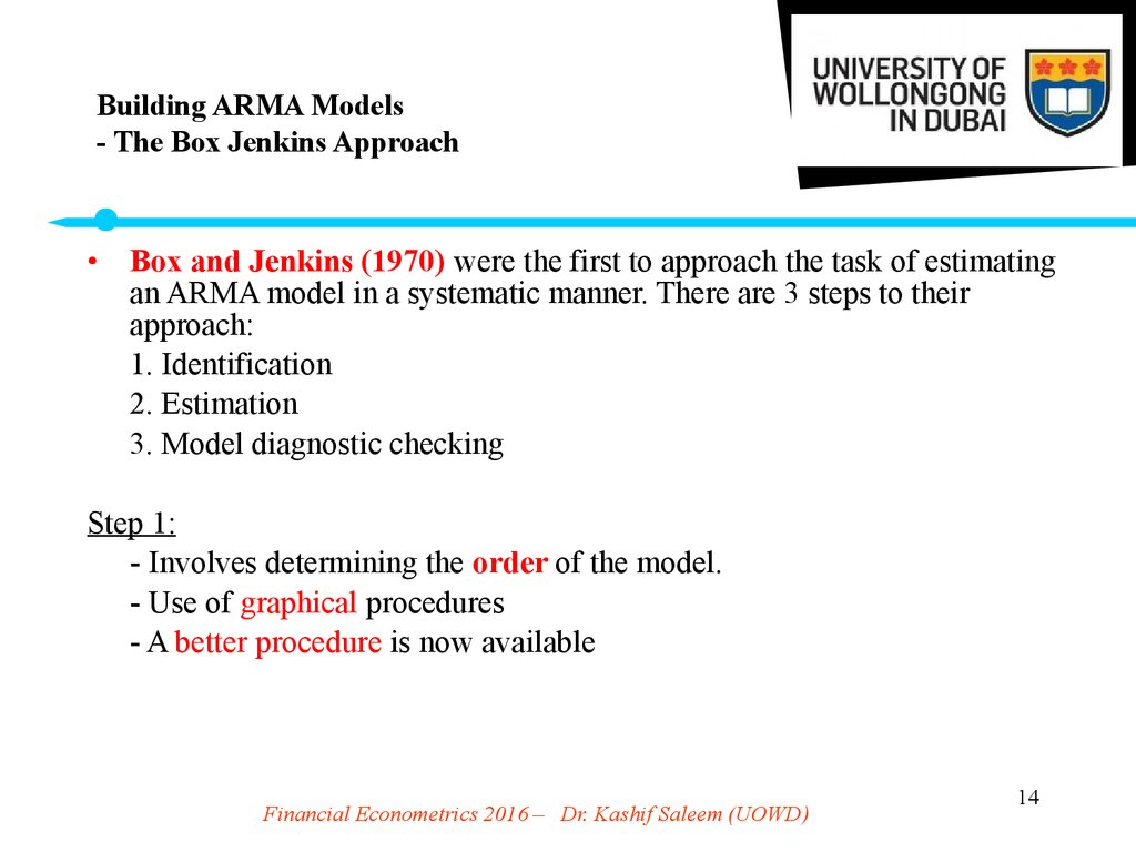 Building ARMA Models - The Box Jenkins Approach