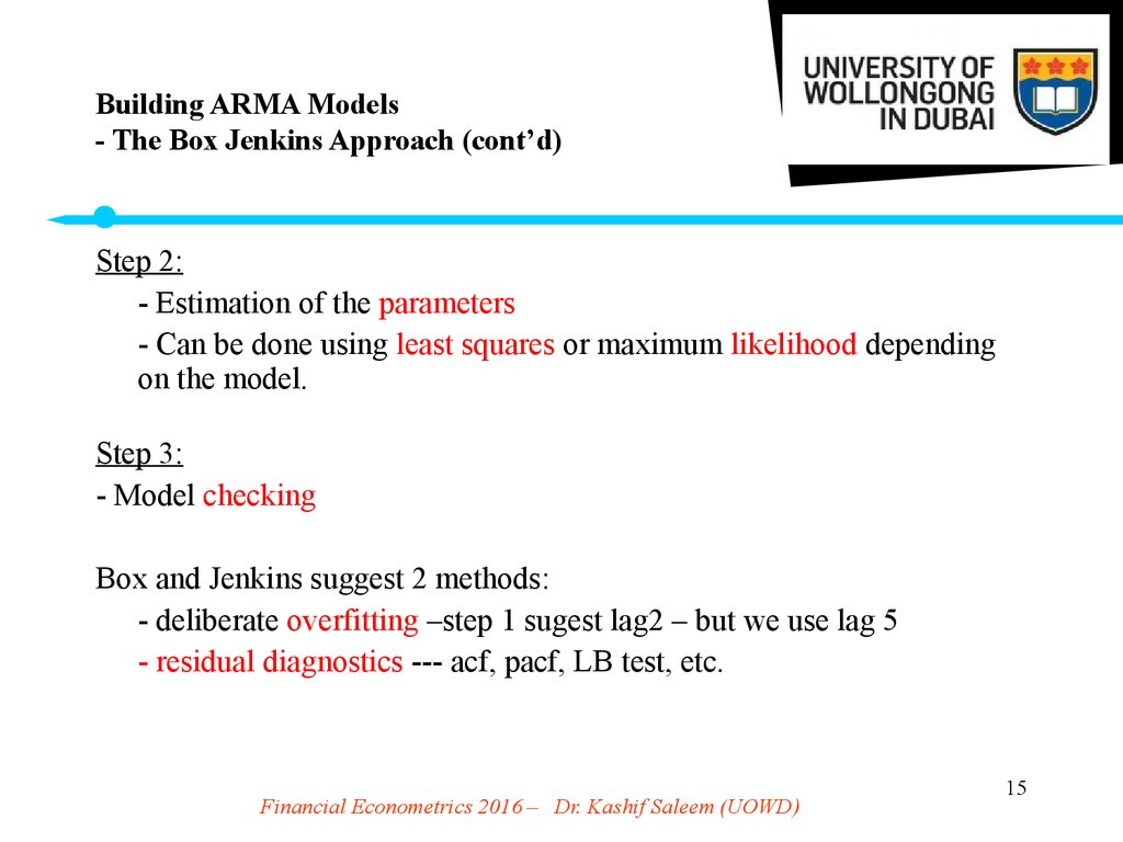 Building ARMA Models - The Box Jenkins Approach (cont'd)