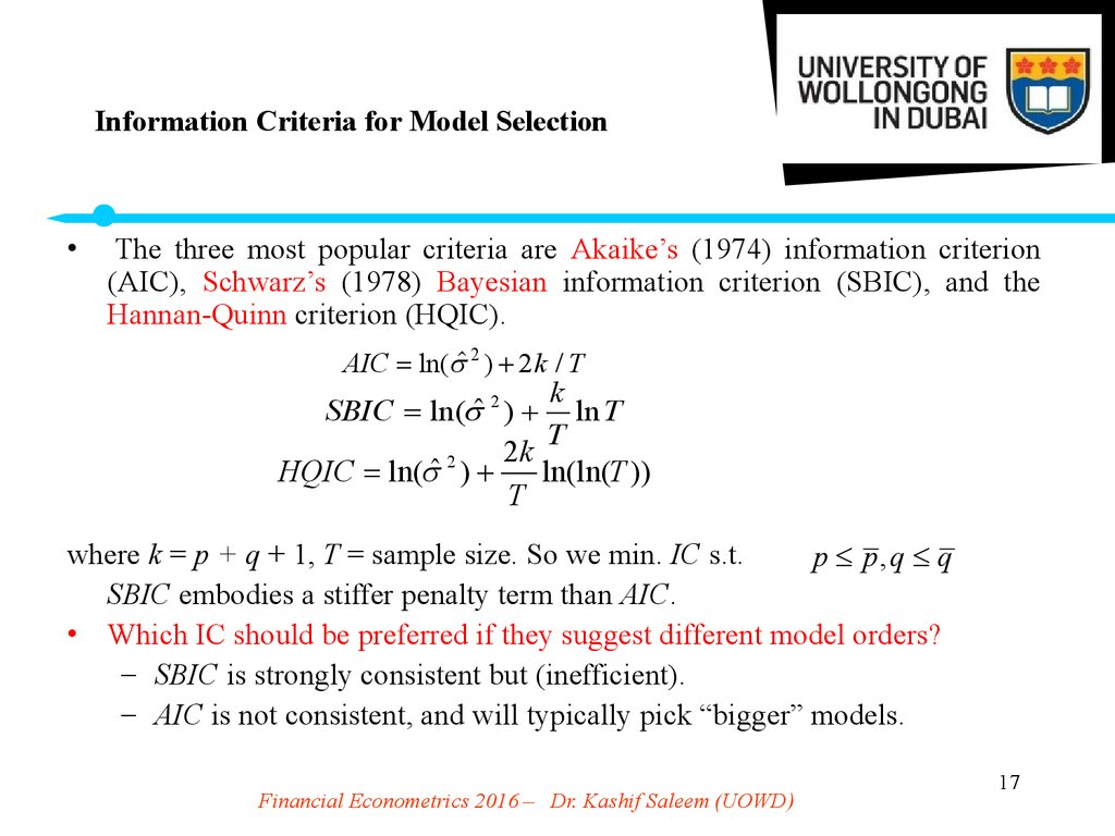Information Criteria for Model Selection