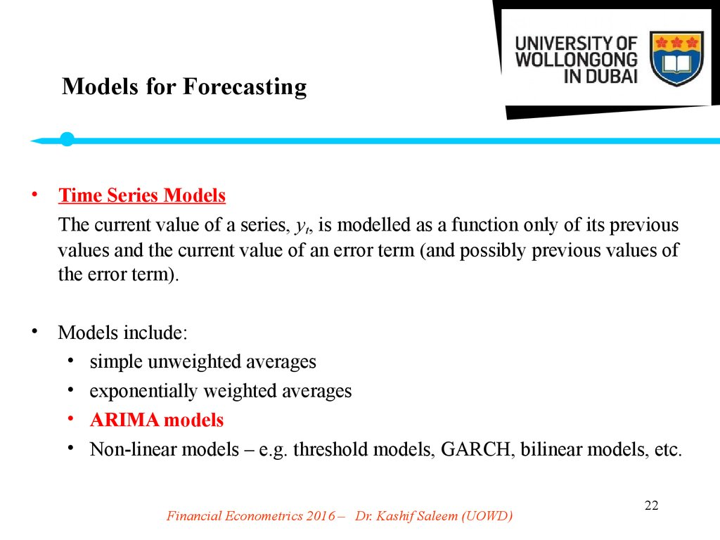 Models for Forecasting