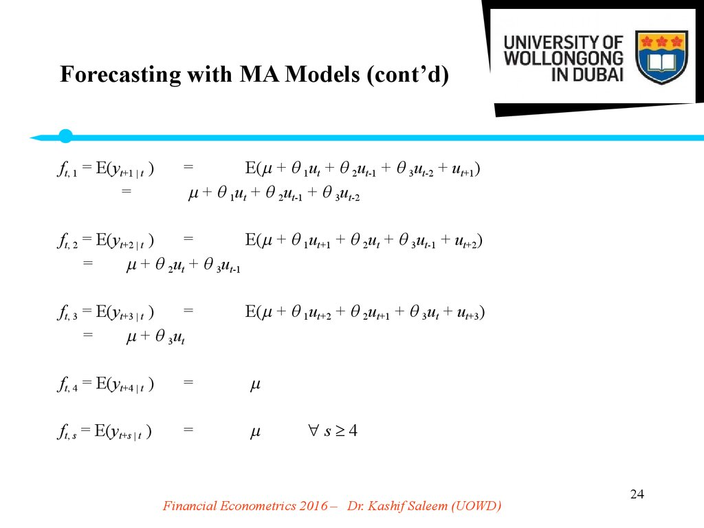 Forecasting with MA Models (cont'd)
