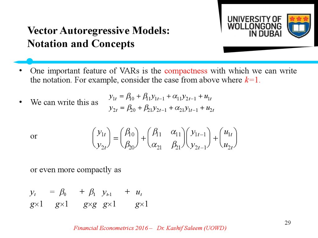 Vector Autoregressive Models: Notation and Concepts