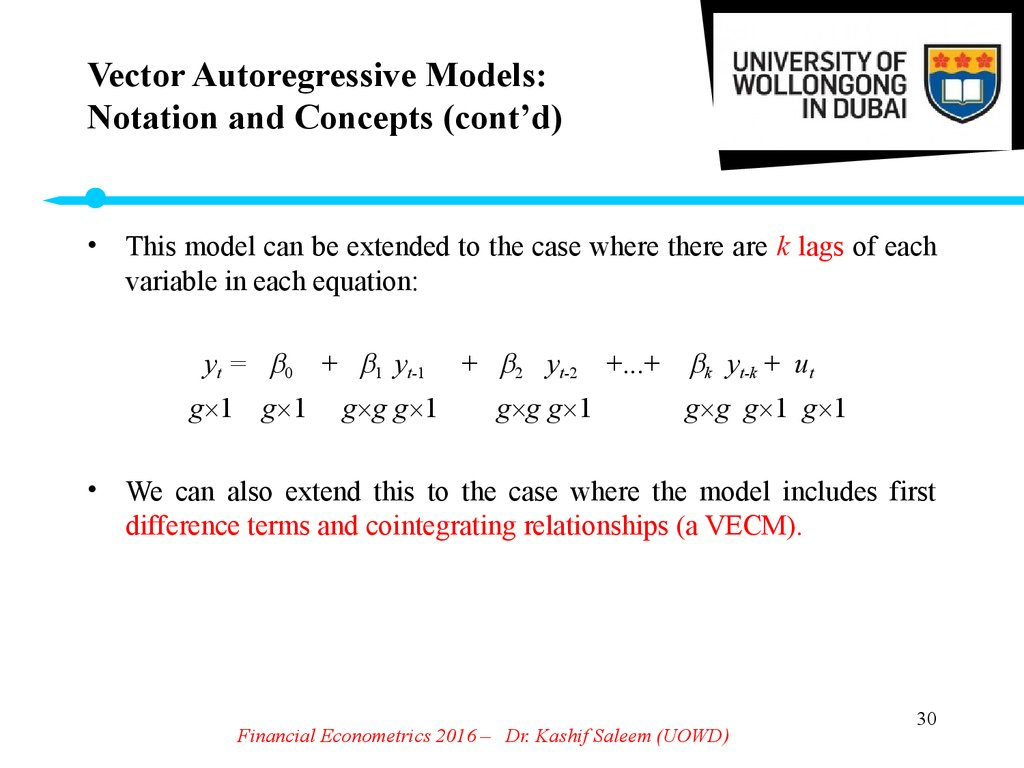 Vector Autoregressive Models: Notation and Concepts (cont'd)