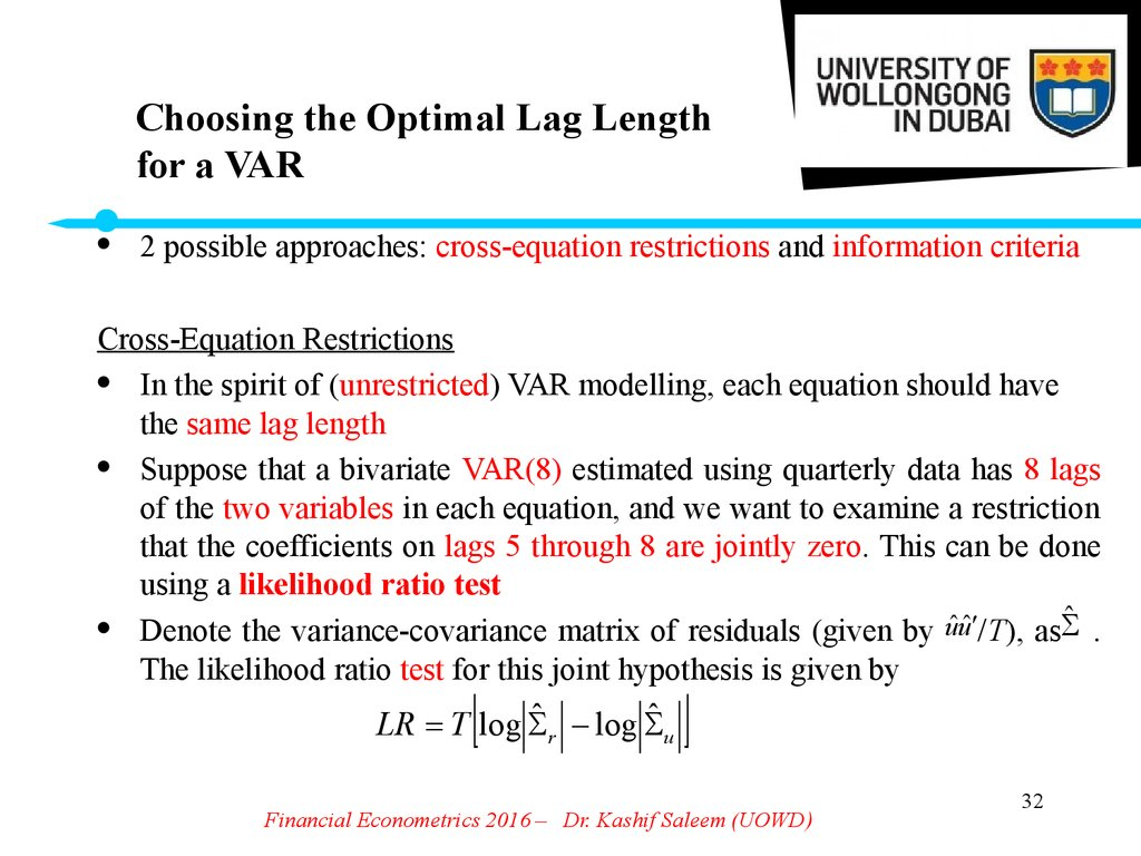 Choosing the Optimal Lag Length for a VAR