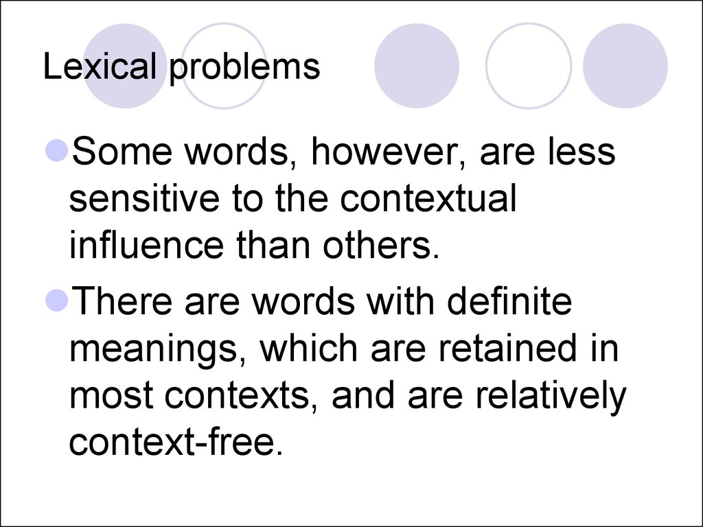 Lexical problems
