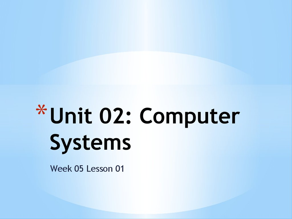 Unit 02: Computer Systems