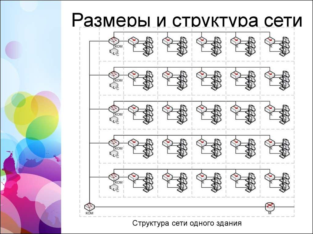 Курсовой проект Проектирование локальной сети предприятия   Размеры и структура сети