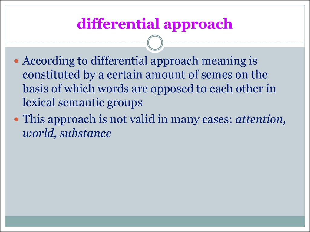 differential approach
