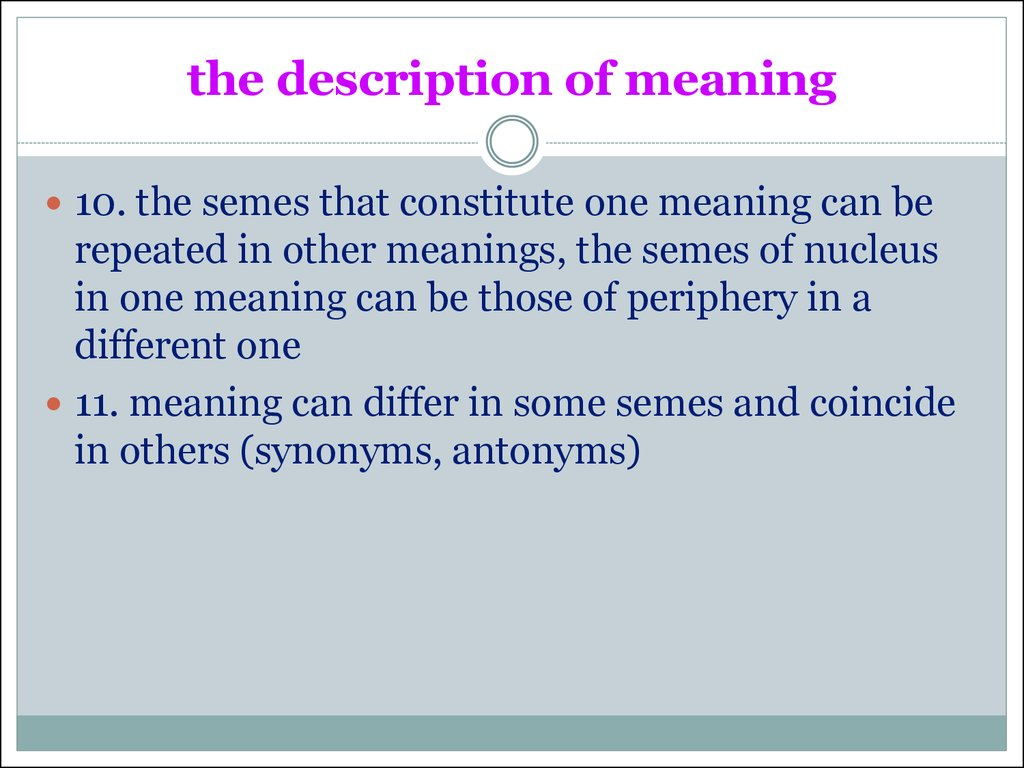 the description of meaning