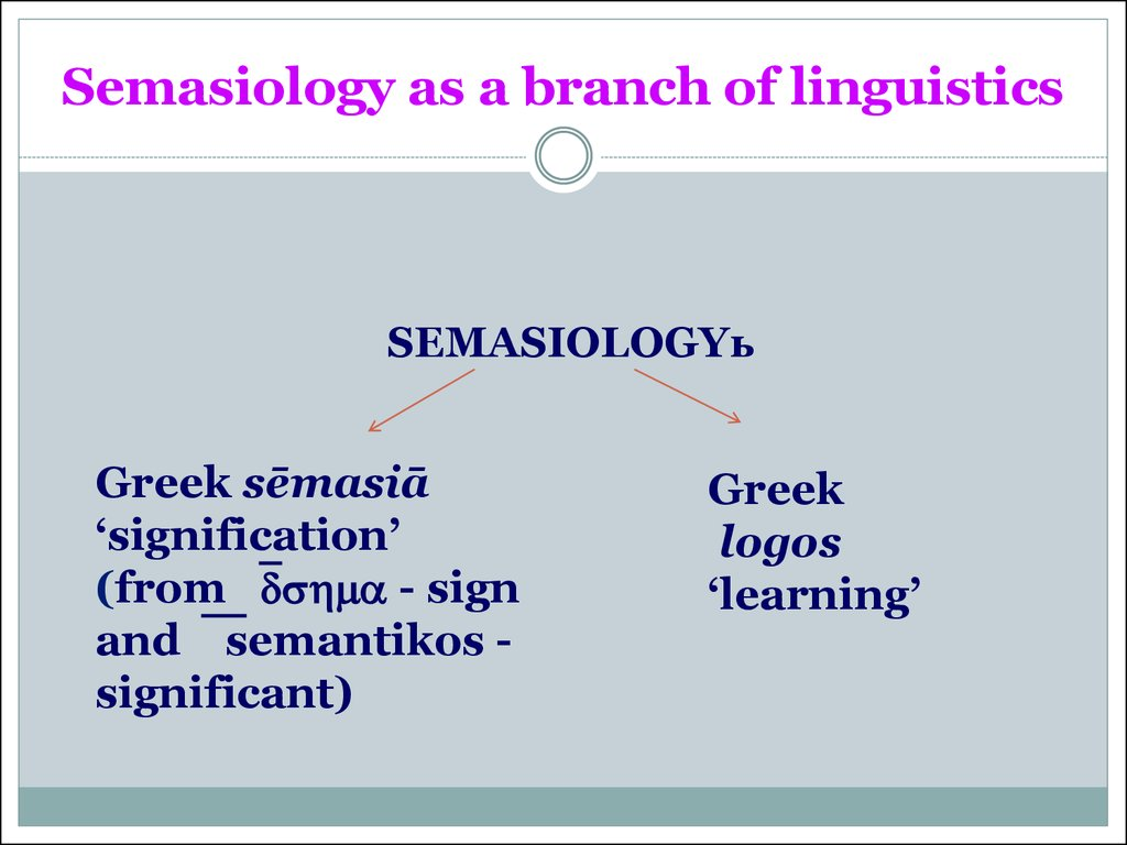 Semasiology as a branch of linguistics