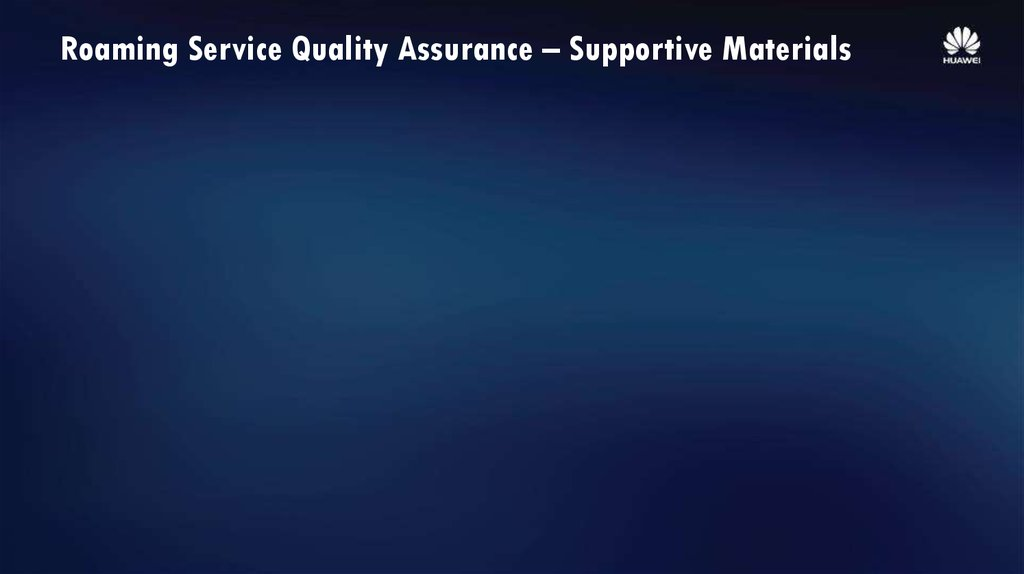 Roaming Service Quality Assurance – Supportive Materials