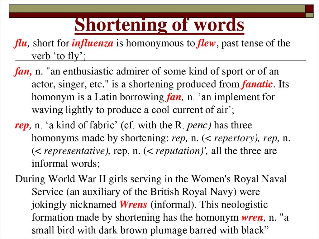 Shortening of words