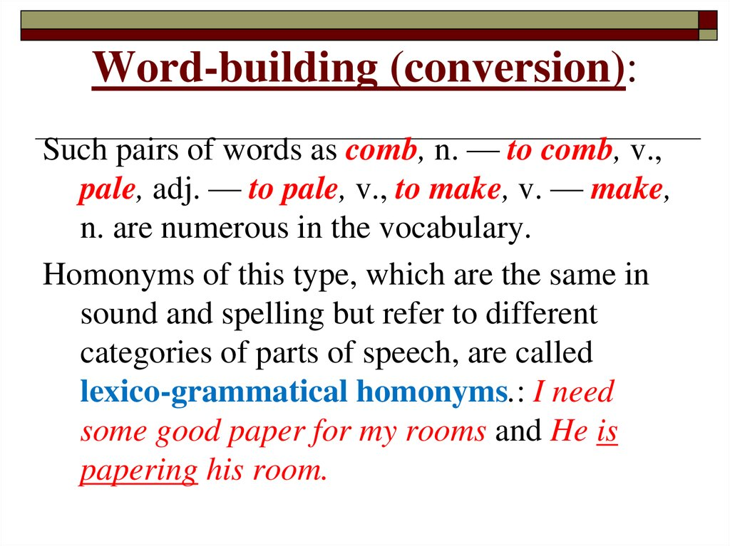 Word-building (conversion):