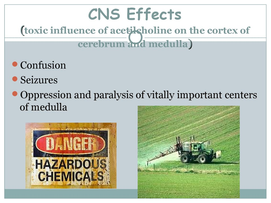 CNS Effects (toxic influence of acetilcholine on the cortex of cerebrum and medulla)