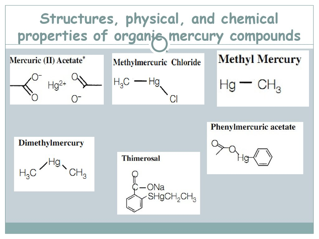 Structures, physical, and chemical properties of organic mercury compounds