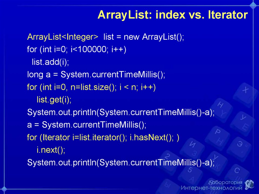 ArrayList: index vs. Iterator