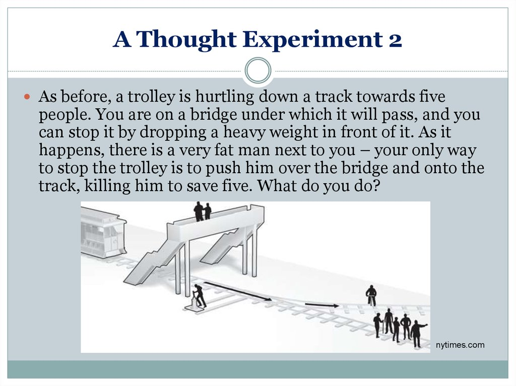the trolley dilemma a thought experiment in ethics Ethical thought experiments are powerful tools for discovering ethical principles and their consistency or inconsistency unfortunately, they are often misun.