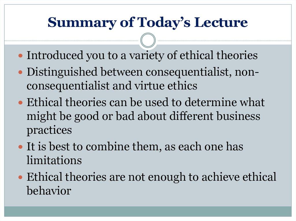 ethical theory summary