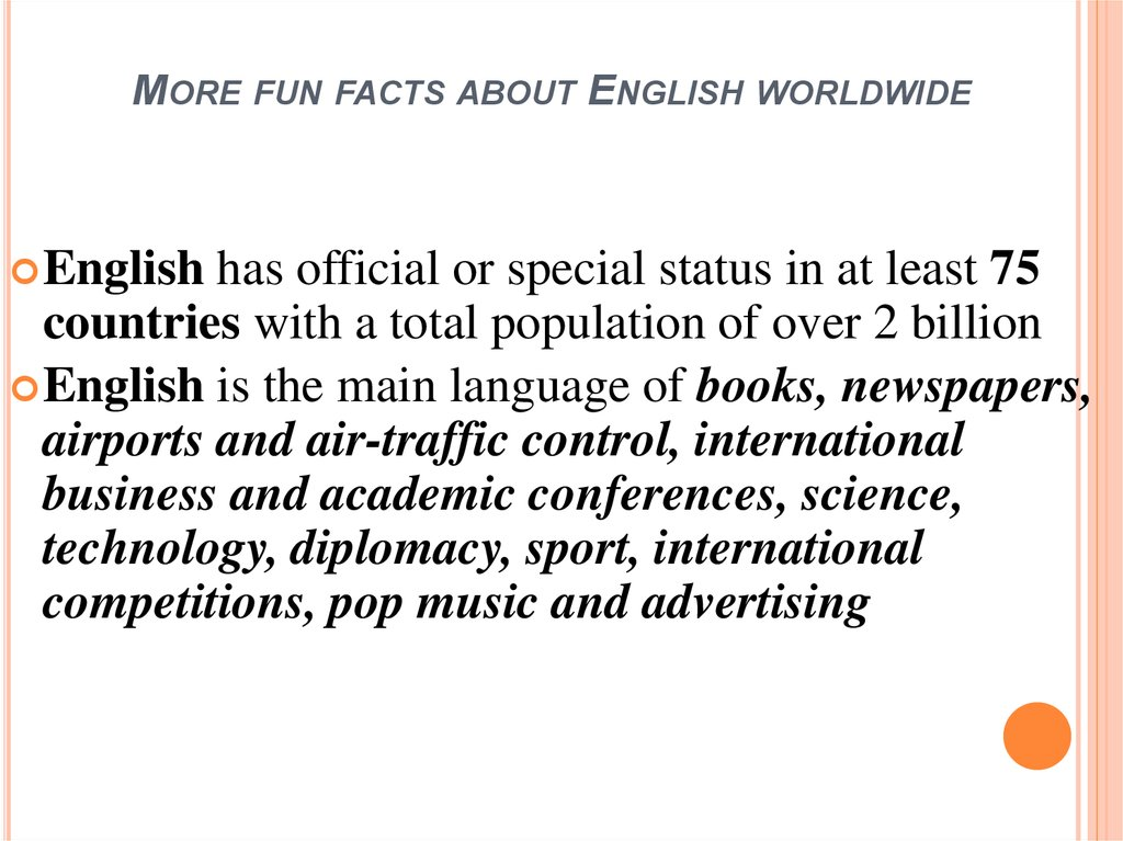 More fun facts about English worldwide