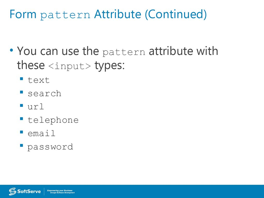 Form pattern Attribute (Continued)