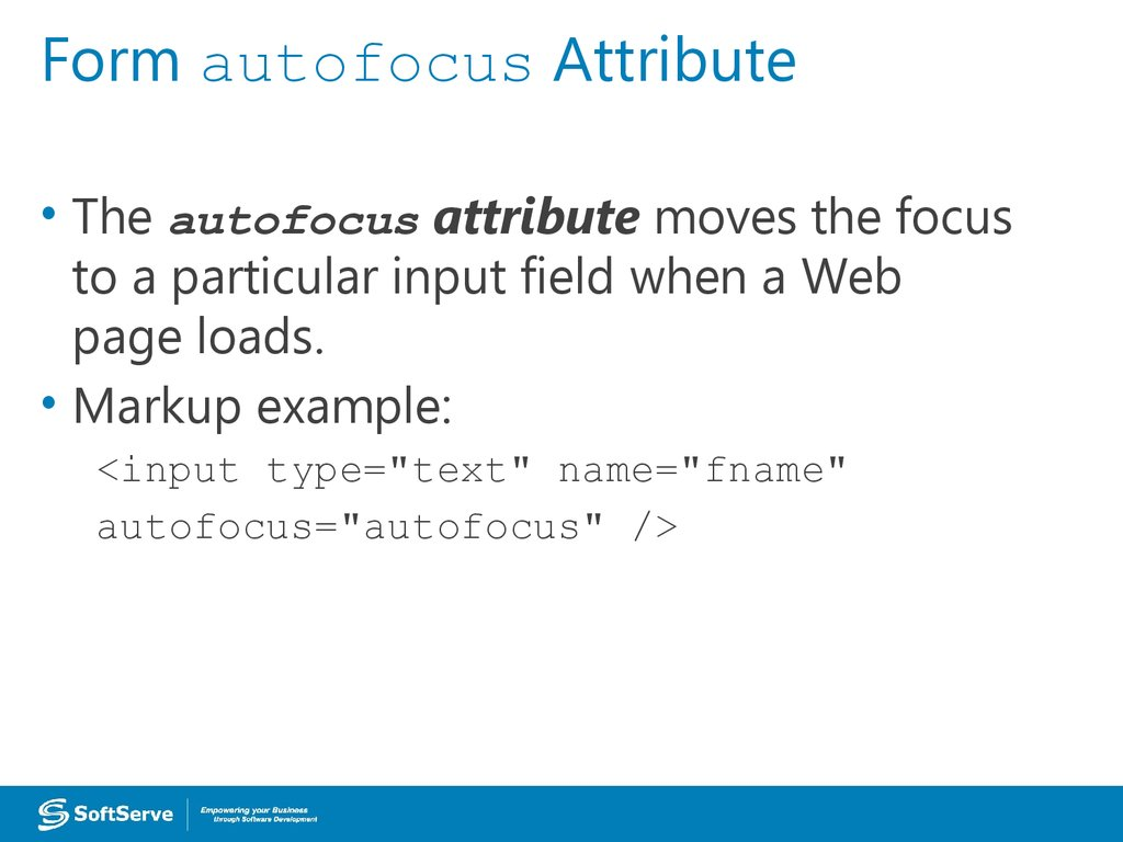 Form autofocus Attribute