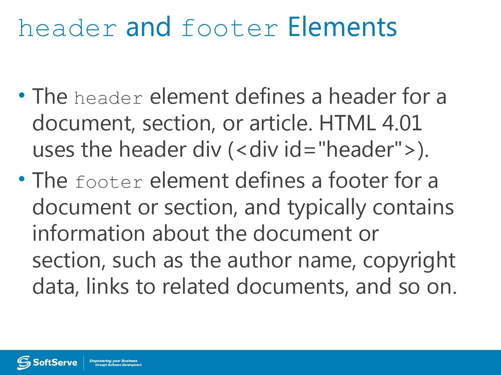 header and footer Elements