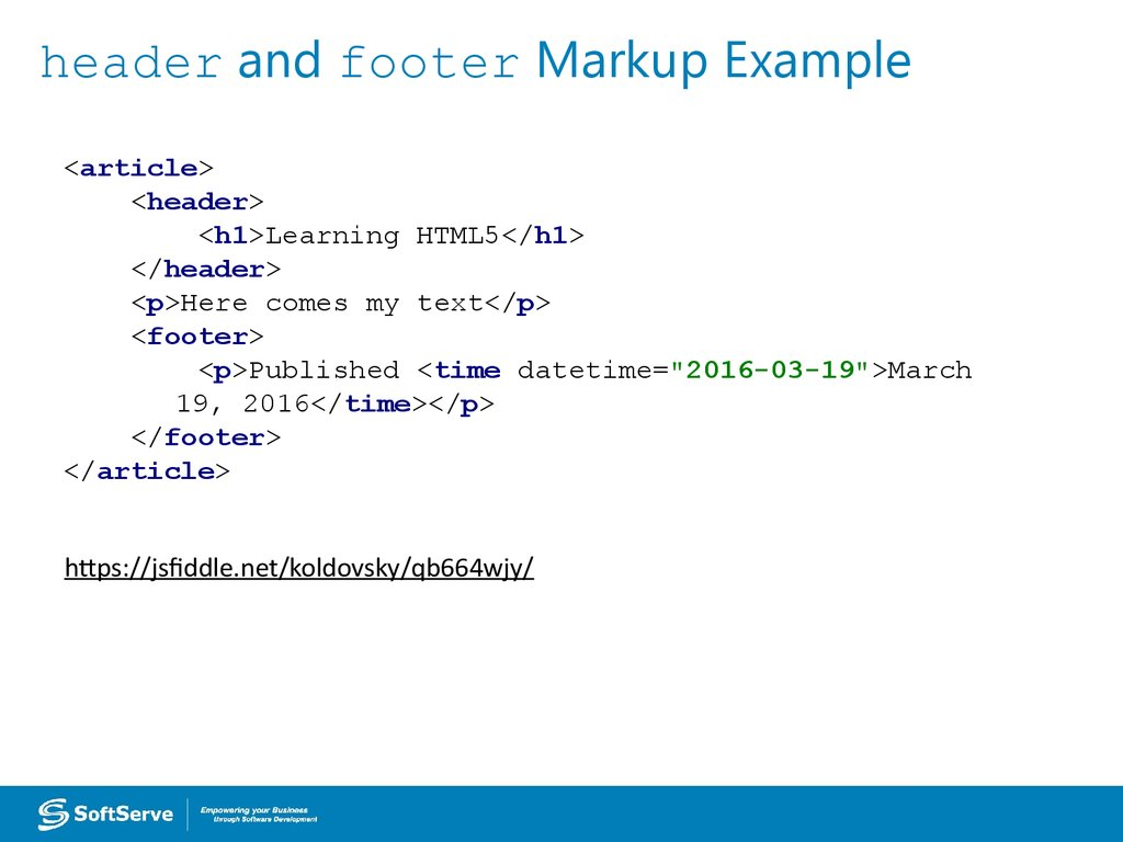 header and footer Markup Example
