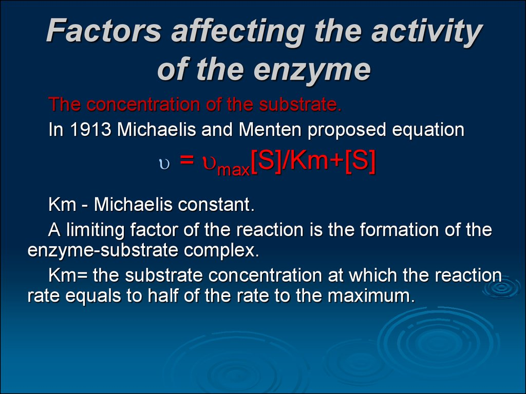 analysis and factors that affect the activity of an enzyme Reaction between an enzyme and a substrate can be affected by different factors some of the factors that can affect enzyme activity are temperature, ph, concentration of the enzyme and concentration of the substrate.