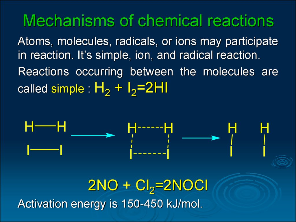 Mechanisms of chemical reactions