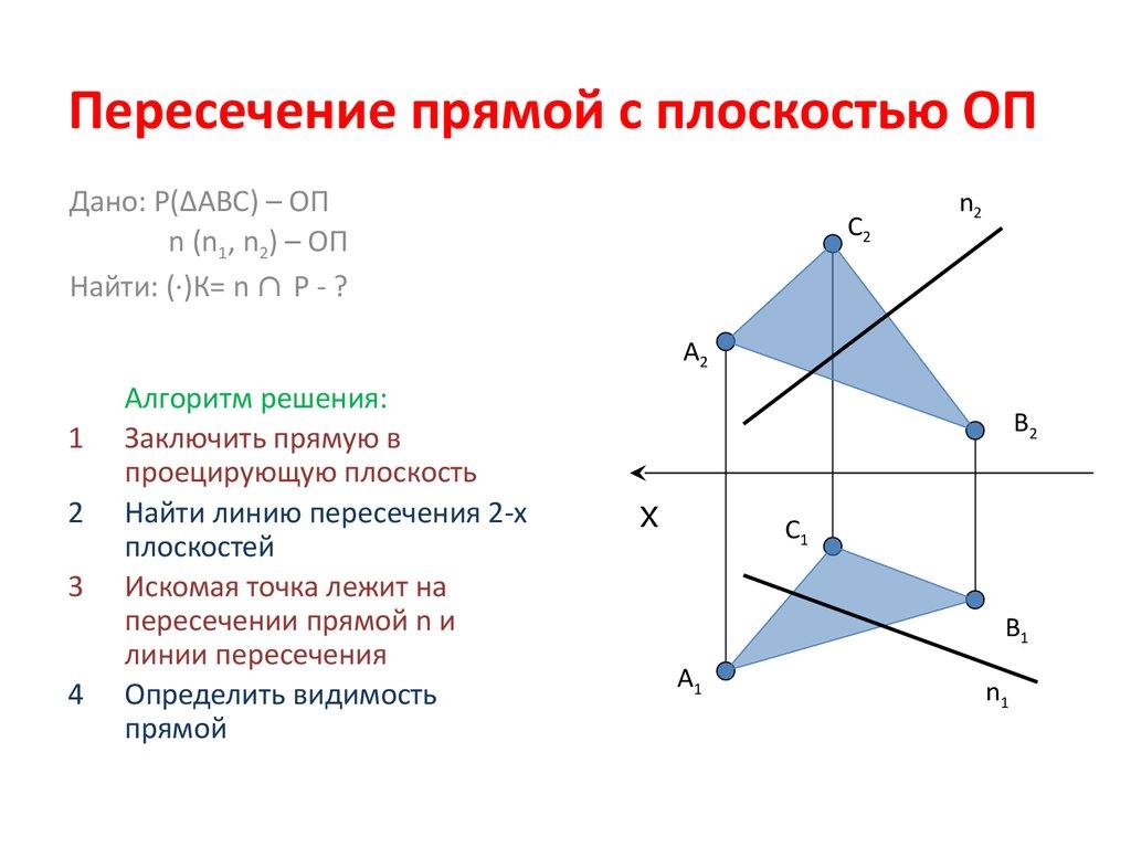 Треугольника плоскостью прямой пересечения с