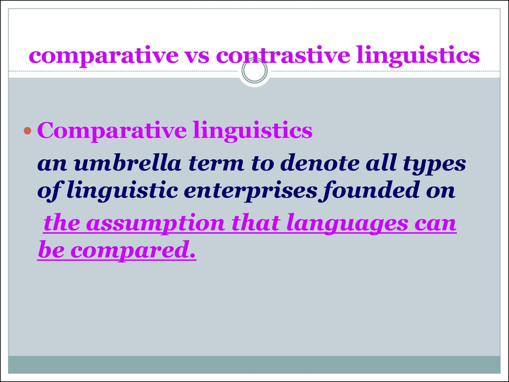 comparative vs contrastive linguistics
